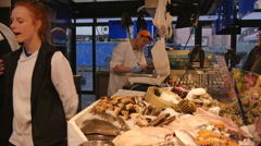 A shop with seafood Stock Footage