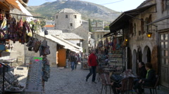 Walking next to Marshall Cafe in Mostar, Bosnia-Herzegovina Stock Footage