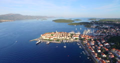 Aerial view of city of Korcula, Croatia Stock Footage