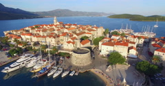 Aerial view of old fortress in Korcula, Croatia Stock Footage