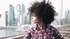 Portrait of Afro American Female looking to camera in New York - stock footage
