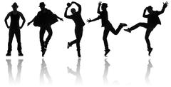 Silhouettes of dancers in dancing concept - stock illustration