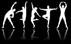 Stock Illustration of Silhouettes of dancers in dancing concept