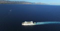 Aerial view of ferry in beautiful Adriatic sea, Croatia Stock Footage