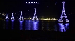 Cable way to Vinpearl, a large amusement park located on an island Stock Footage