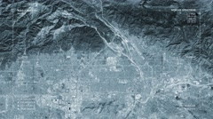 Aerial surveillance flyover of the East Los Angeles metro area (monochromatic) Stock Footage