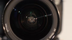 Diaphragm of a camera lens aperture, close up, open Stock Footage