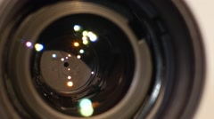 Diaphragm of a camera lens aperture, close up, open, macro - stock footage