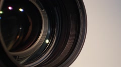 Part of camera zoom out lens, glare, close up Stock Footage