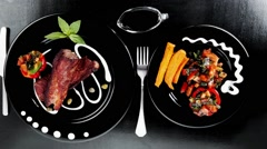 Beef meat steak barbecue garnished with vegetable salad sweet p Stock Footage