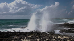 Cozumel Mexico rocky shore blow hole HD 005 Stock Footage
