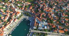 Aerial view of Supetar on Island of Brac, Croatia Stock Footage