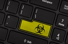 Symbol on button keyboard, biohazard - stock photo