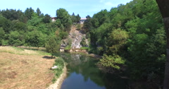 Aerial view of old Tounj Bridge, Croatia Stock Footage