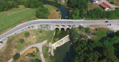Aerial view of Tounj Bridge, Croatia Stock Footage