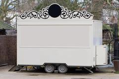 White trailer, shop on wheels Stock Photos