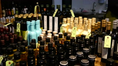 Interesting collection of bottles - stock footage