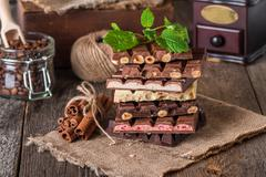 An assortment of white, dark, and milk chocolate Stock Photos