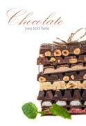 An assortment of white, dark, and milk chocolat Stock Photos
