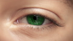 Zoom through eye, optic nerve into brain / neurons. Green eye, 4K loop-able. - stock footage