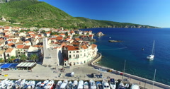 Aerial view of Komiza on Island of Vis, Croatia Stock Footage