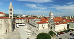 Aerial view of Roman Forum in Zadar in Croatia Stock Footage