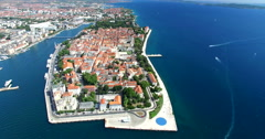 Aerial view of beautiful Zadar town, Croatia Stock Footage