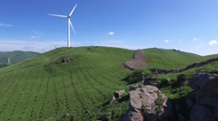 Aerial of windfarm in China Stock Footage