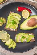 Avocado sandwich Stock Photos