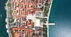 Aerial view of rooftops in Zadar, Croatia Stock Footage