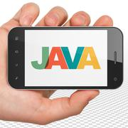 Database concept: Hand Holding Smartphone with Java on  display Stock Illustration