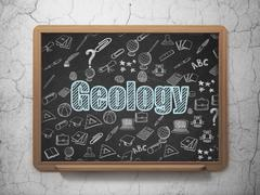 Studying concept: Geology on School Board background Stock Illustration