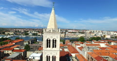 Tower of cathedral of St. Anastasia in Zadar, Croatia Stock Footage