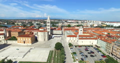 Panorama of old city of Zadar, Croatia Stock Footage