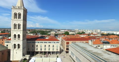Aerial view of old town of Zadar, Croatia Stock Footage