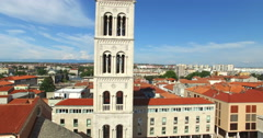Tower of cathedral of St. Anastasia and rooftops in Zadar, Croatia Stock Footage