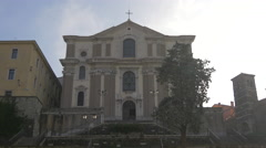 Low angle view of Santa Maria Maggiore Church in Trieste Stock Footage