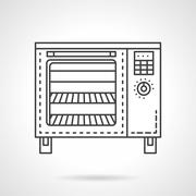Bakery equipment flat line vector icon. Stove - stock illustration