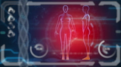 Scanner human female body. Futuristic medical hud monitor.  - stock footage