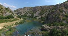 Aerial view of kayaking on the Zrmanja river, Croatia - stock footage