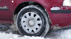 Car skidding in the snow. Stock Footage