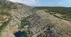 Aerial view of Zrmanja river, Croatia Stock Footage