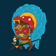 African Tribe Shaman Cartoon Character - stock illustration
