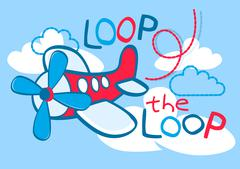 A cute plane flying loop the loop in the sky Stock Illustration