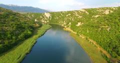 Aerial view of Zrmanja river, Croatia - stock footage