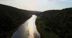 Aerial view of Zrmanja river, Croatia Stock Footage