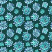 Blue Succulent Watercolor Pattern - stock illustration
