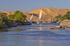 Sailing on the Nile. (near Aswan, Egypt). - stock photo