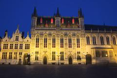 The Town Hall in Bruges at night (Belgium) Stock Photos