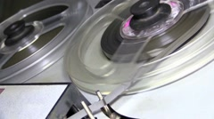 Old retro Reel Audio Recorder reels spinning Stock Footage